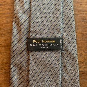 Balenciaga Gray & Navy Pinstripe Silk Tie